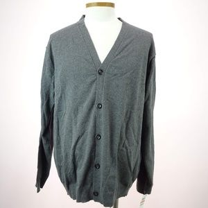 Club Room Men's Charcoal Long Sleeve Cardigan